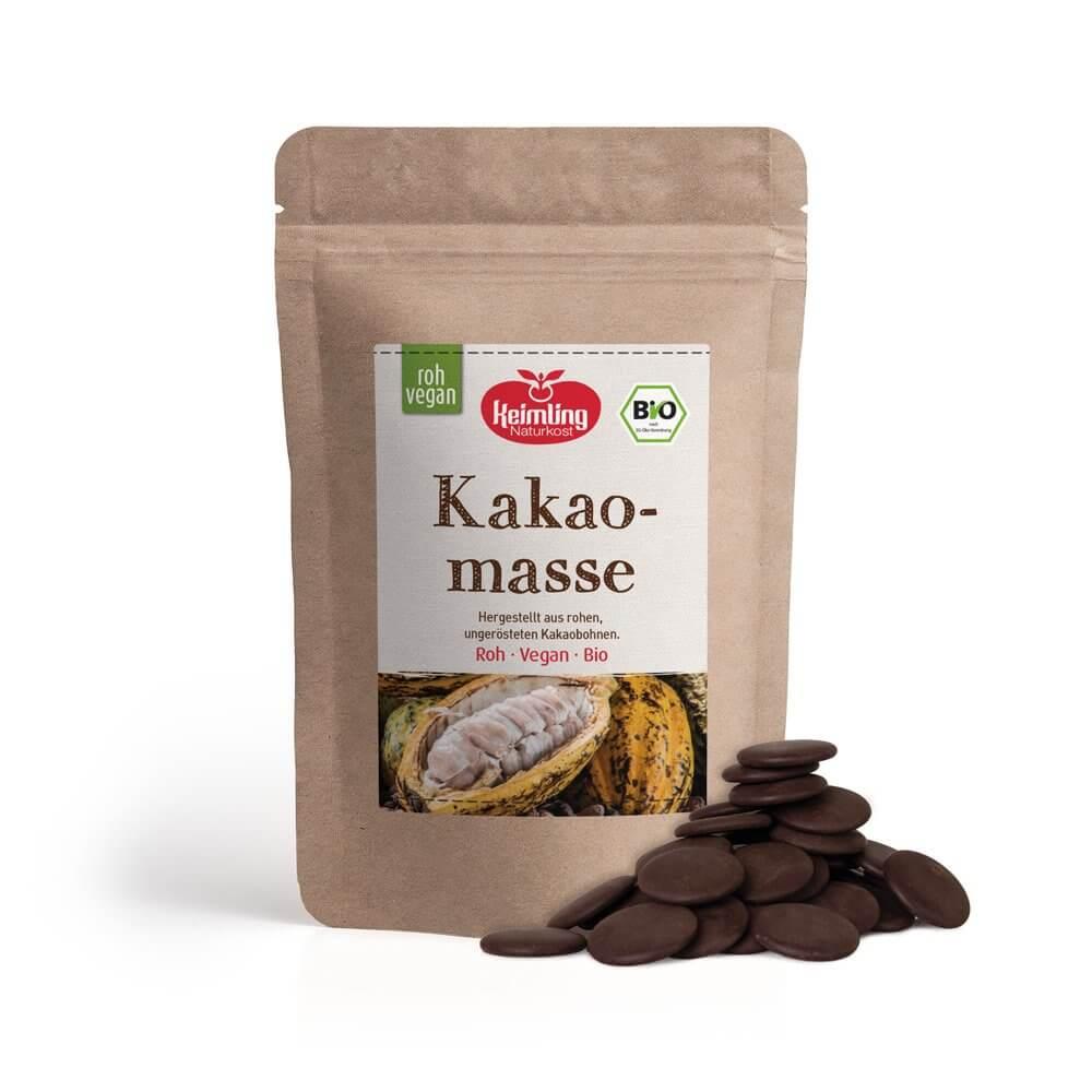 Rohe Edel-Kakaomasse mit Verpackung