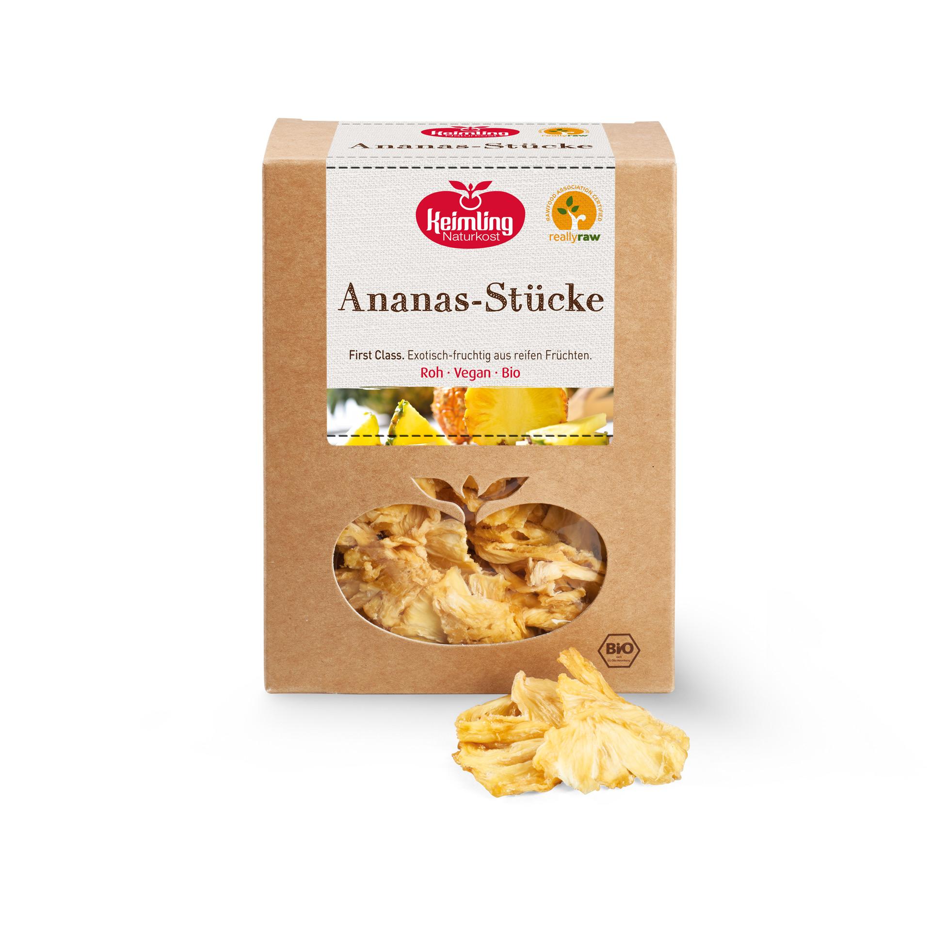 Ananas-Stücke really raw zertifiziert