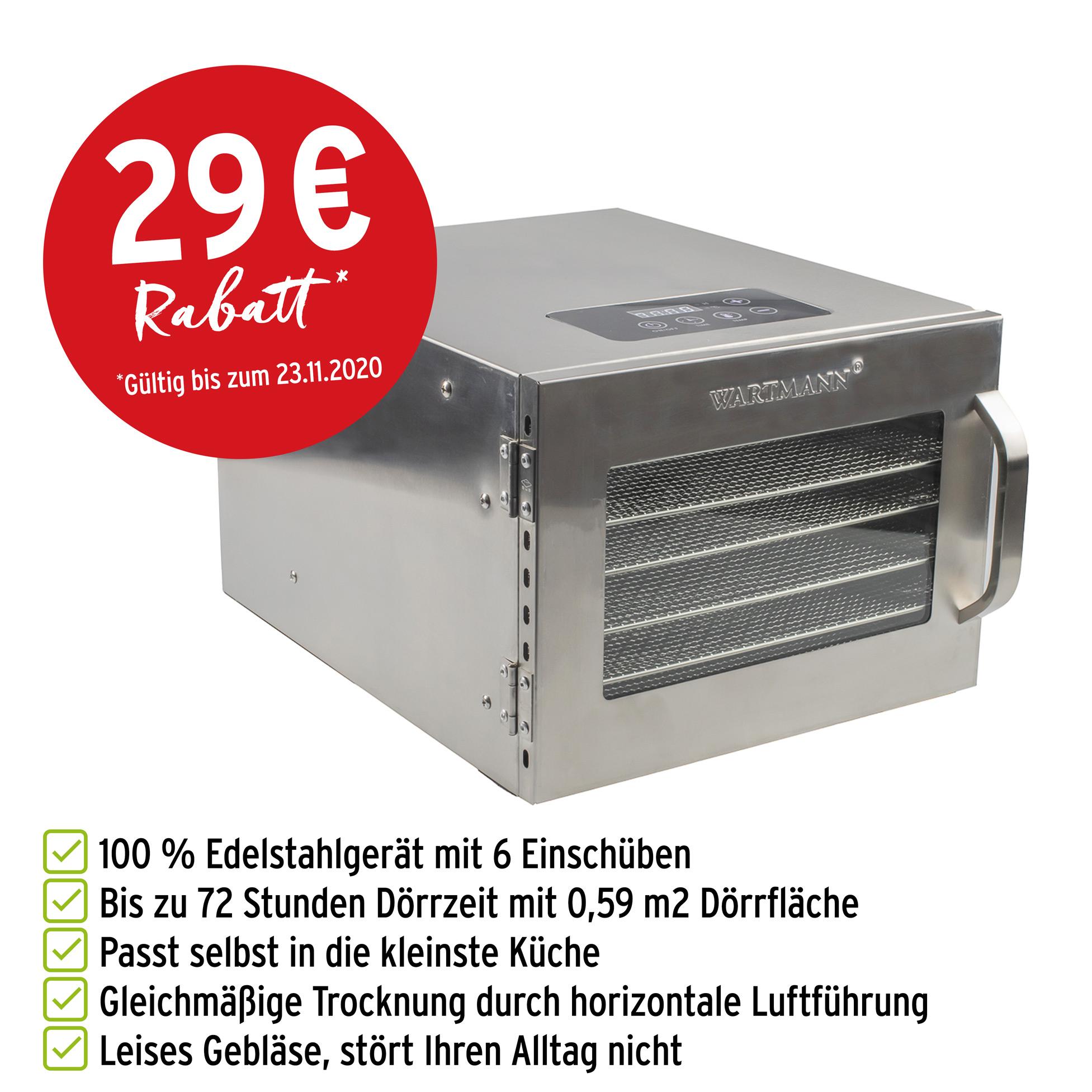 Wartmann Dörrautomat WM-2006 DH mit Vorteilen und 29 Euro Rabatt