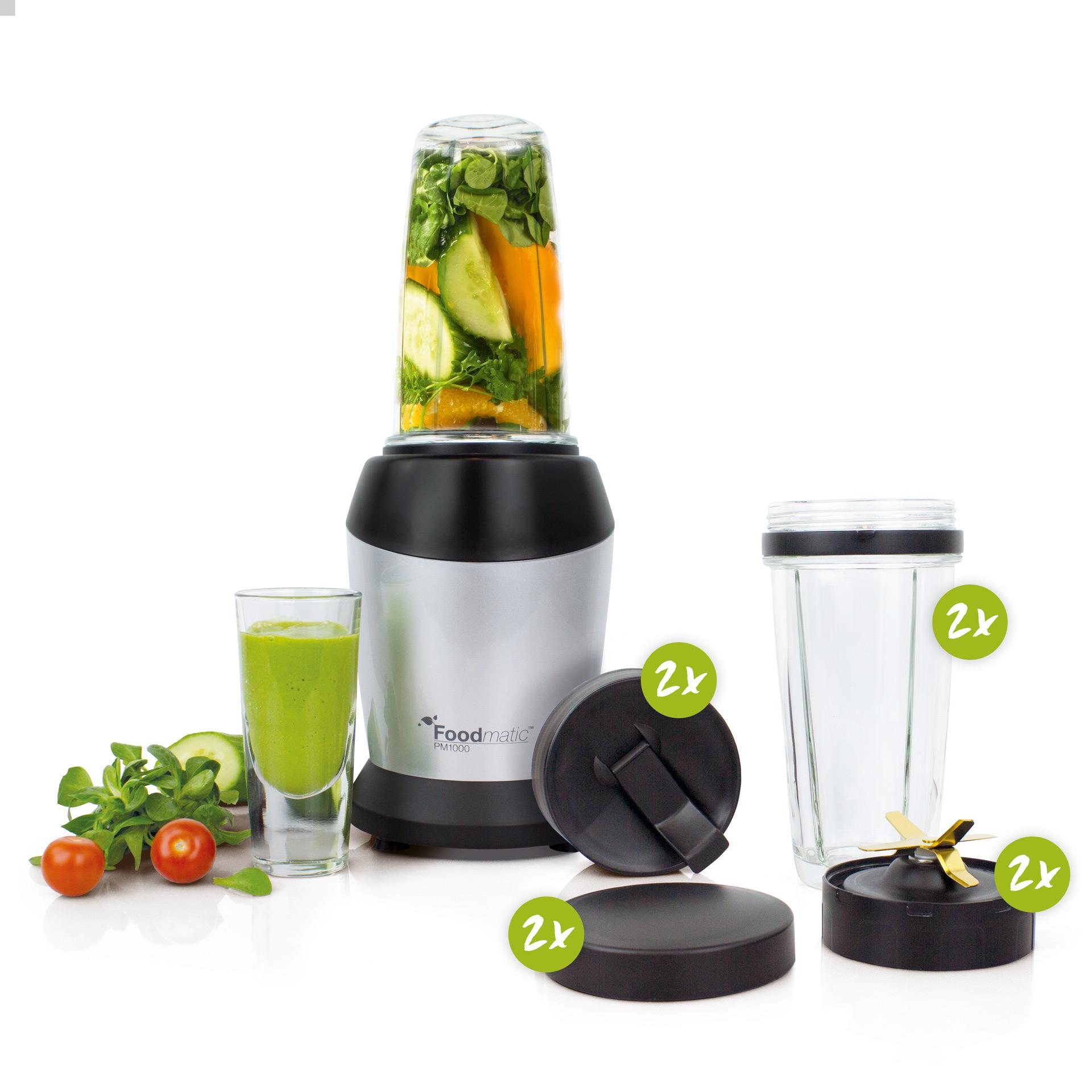 Foodmatic Personal Mixer PM1000G im XL Set: Messerblock, Deckel und Mixbehälter  in zweifacher Ausführung