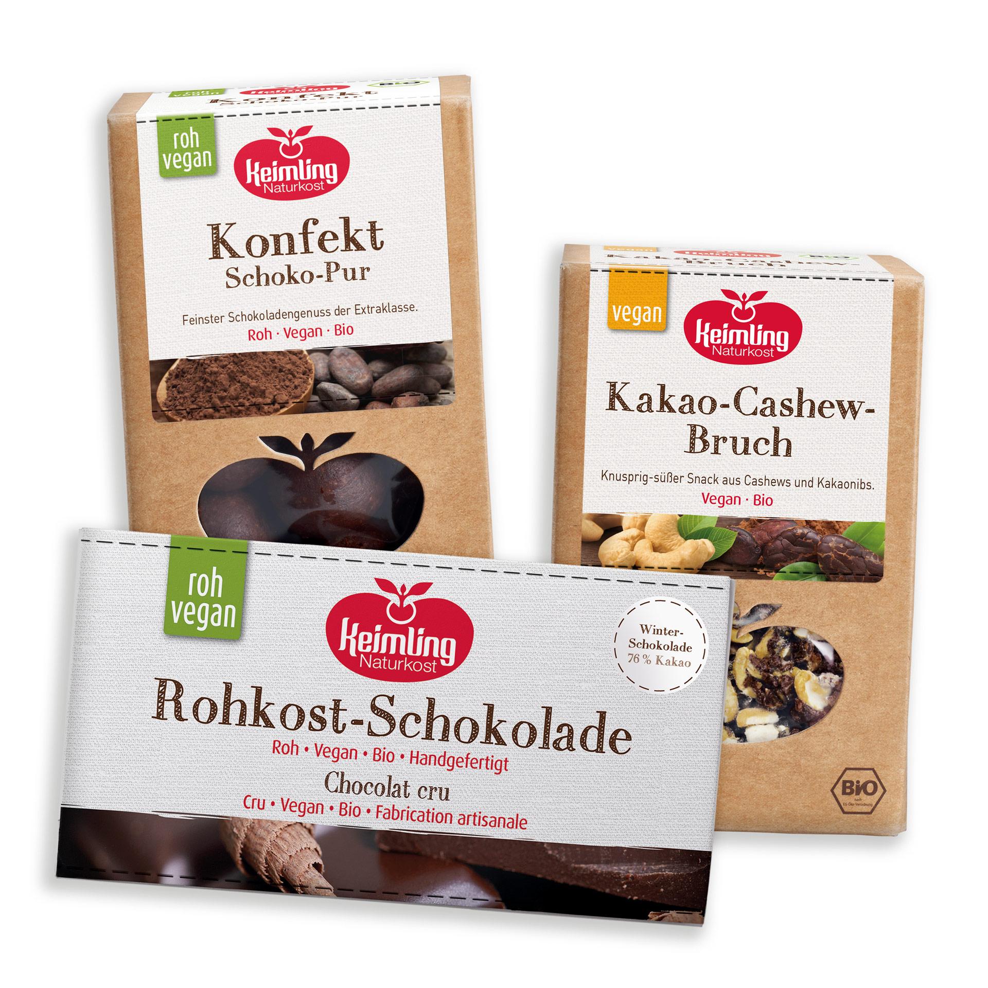 Rohkost Schoko-Set bestehend aus Konfekt Schoko-Pur, Kakao-Cashew-Bruch und Winterschokolade