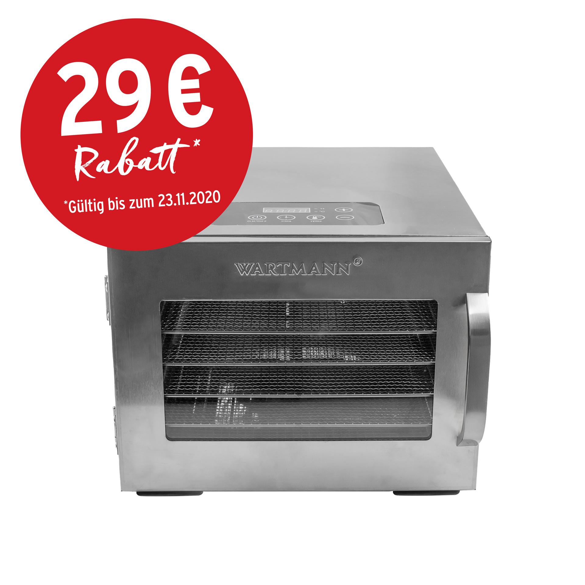 Wartmann Edelstahl-Doerrautomat WM 200  DH Frontalansicht Einfuehrungspreis