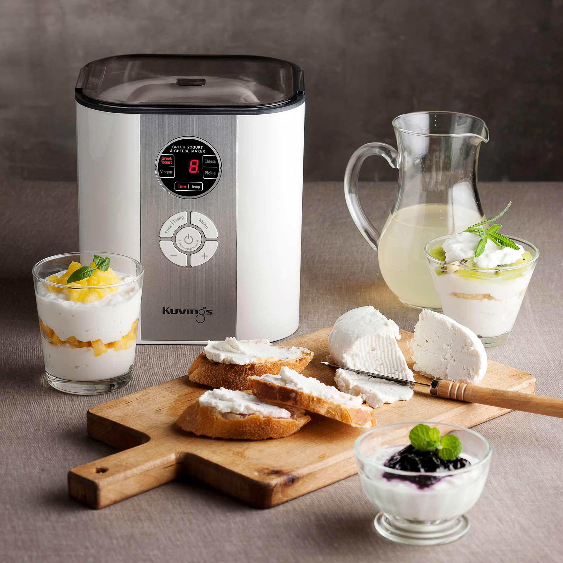 Kuvings Smart Fermenter mit fermentiertem Produkten und Zubereitungsbeispiel: pflanzlicher Käse