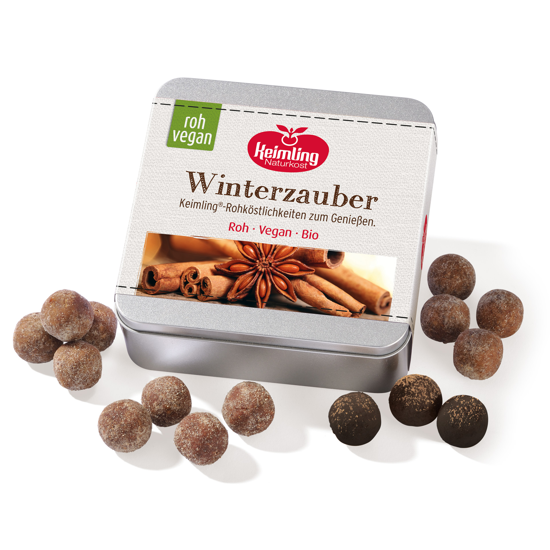 Geschenkdose Winterzauber mit 4 Sorten roh-veganen Konfekten