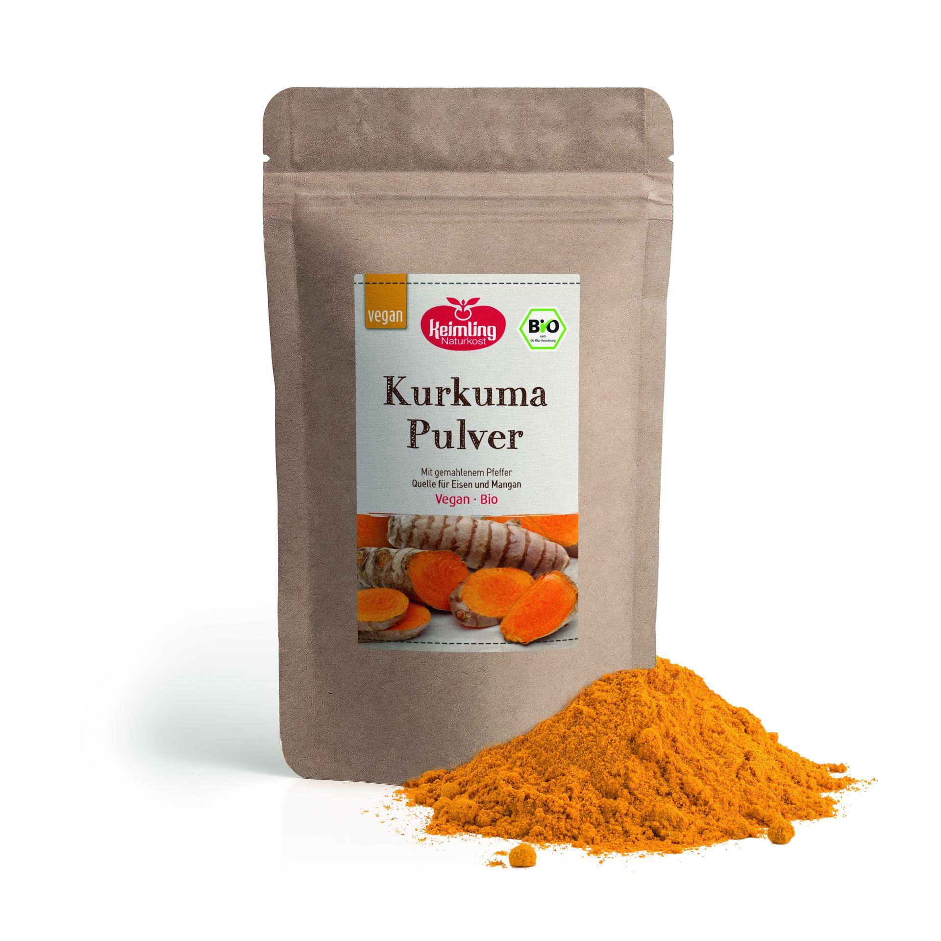 Kurkuma Pulver mit Pfeffer, bio 100 g